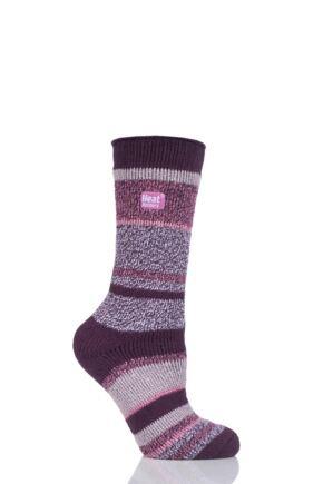 Ladies 1 Pair SockShop Heat Holders Multi Twisted Stripe Socks Burgundy 4-8 Ladies