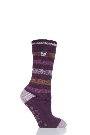 Ladies 1 Pair SockShop Heat Holders Striped Slipper Socks Burgundy 4-8 Ladies