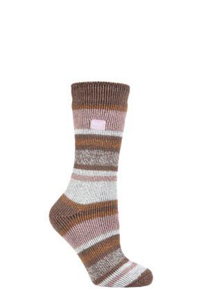Ladies 1 Pair SOCKSHOP Heat Holders 2.3 TOG Patterned Thermal Socks Block Twisted Stripe Cabin Fever 4-8 Ladies