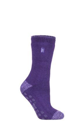 Ladies 1 Pair SOCKSHOP Heat Holders 2.3 TOG Plain and Patterned Slipper Socks Juniper Purple 4-8 Ladies