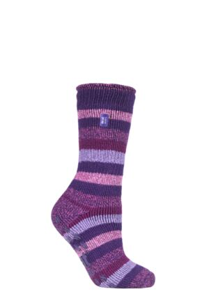 Ladies 1 Pair SOCKSHOP Heat Holders 2.3 TOG Plain and Patterned Slipper Socks