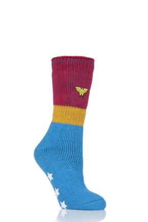 Ladies 1 Pair SockShop Heat Holders DC's Wonder Woman Slipper Socks