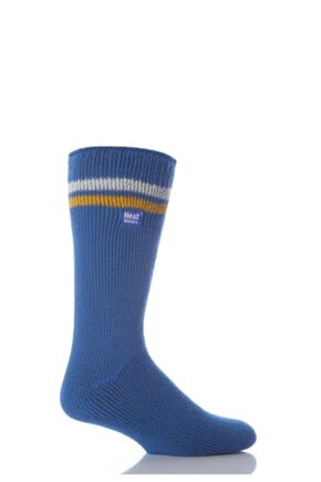 Mens 1 Pair Heat Holders For Football Fans Socks Blue, White and Yellow