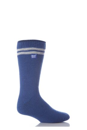 Mens 1 Pair Heat Holders For Football Fans Socks In Blue and White