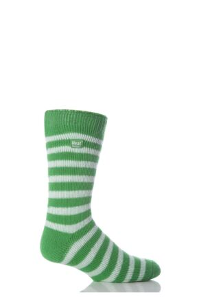 Mens 1 Pair Heat Holders For Football Fans Socks In Green and White Green / White