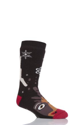SockShop Heat Holders 1 Pair Double Layered Rudolph Christmas Slipper Socks