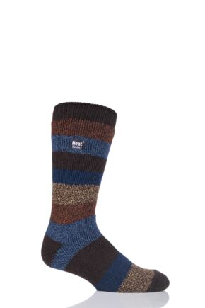 Mens 1 Pair SockShop Heat Holders Block Twisted Stripe Socks Brown 6-11 Mens