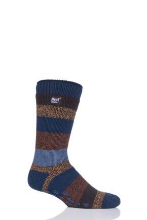 Mens 1 Pair SockShop Heat Holders Striped Slipper Socks