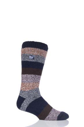 Mens 1 Pair SockShop Heat Holders Block Twisted Stripe Socks