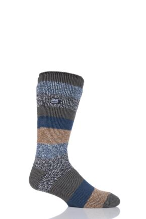 Mens 1 Pair SockShop Heat Holders Block Twisted Stripe Socks