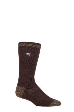 Mens 1 Pair SOCKSHOP Heat Holders 2.3 TOG Patterned and Plain Thermal Socks Twist Heel & Toe Brown 6-11 Mens
