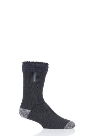 Mens 1 Pair Heat Holders Lumi Sleep Socks Charcoal 6-11 Mens