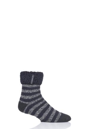 Mens 1 Pair Heat Holders Olwen Sleep Socks Charcoal Stripe 6-11 Mens