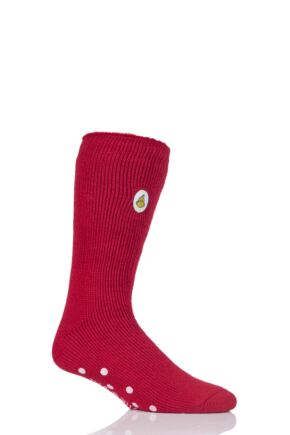 Mens 1 Pair SockShop Heat Holders The Grinch Slipper Socks Red 6-11 Mens