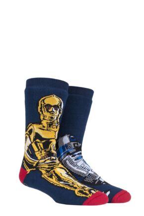 Mens 1 Pair SOCKSHOP Heat Holders Disney Star Wars 3.1 TOG C3P0 & R2D2 Double Layer Slipper Socks