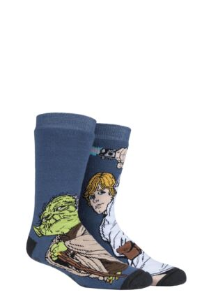 Mens 1 Pair SOCKSHOP Heat Holders Disney Star Wars 3.1 TOG Yoda & Luke Skywalker Double Layer Slipper Socks