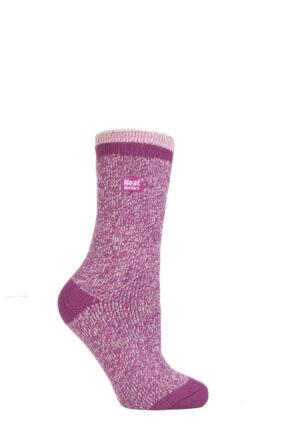 Ladies 1 Pair SockShop Twisted Yarn Heat Holders Thermal Socks Berry / Pink 4-8 Ladies