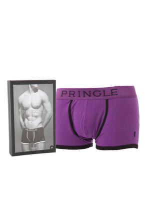 Mens 1 Pair Pringle Of Scotland Purple Fashion Trunk With Contrast Waistband and Binding 25% OFF Purple S