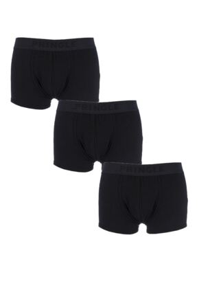 Mens 3 Pack Pringle Plain Cotton Boxer Shorts In Black