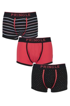 Mens 3 Pack Pringle Black Label Plain, Stripe and Spot Red Cotton Boxer Shorts Red Extra Large