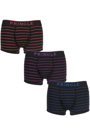 Mens 3 Pack Pringle Classic Fine Striped Boxer Shorts In Black