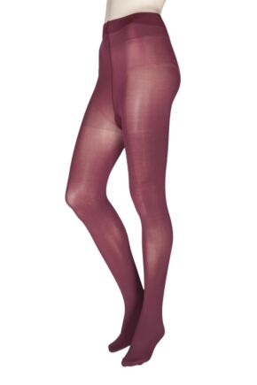 Ladies 1 Pair Charnos 60 Denier Opaque Tights Bordeaux Extra Large