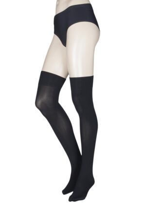 Ladies 1 Pair Trasparenze Caballero 70 Denier Over the Knee Socks Black M/L