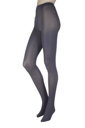 Ladies 1 Pair Charnos Mini Spot Opaque Tights Grey Small / Medium