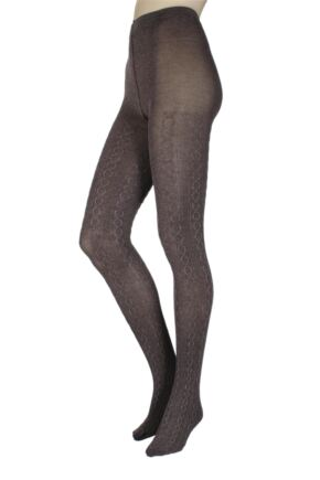 Ladies 1 Pair Charnos Luxury Knits Cotton Cable Knit Tights