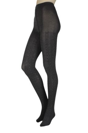 Ladies 1 Pair Charnos Luxury Knits Cotton Cable Knit Tights Grey Marl Medium / Large