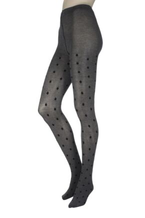 Ladies 1 Pair Charnos Luxury Knits Viscose Spot Tights Grey SM