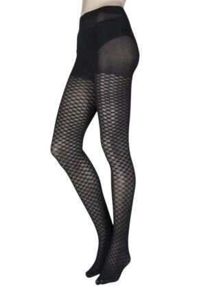 Ladies 1 Pair Charnos Chequered Square Opaque Tights