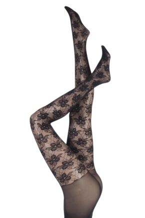 Ladies 1 Pair Charnos Fashion Floral Sheer Tights