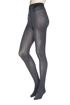 Ladies 1 Pair Charnos Fashion Diamond Tights Grey Medium / Large