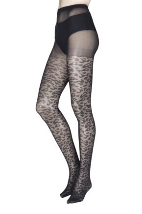 Ladies 1 Pair Charnos Fashion Leopard Print Tights