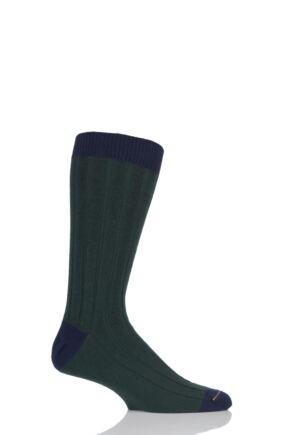 Mens 1 Pair SockShop of London 85% Cashmere Contrast Top Heel and Toe Ribbed Long Calf Socks Bottle / Navy 7-11