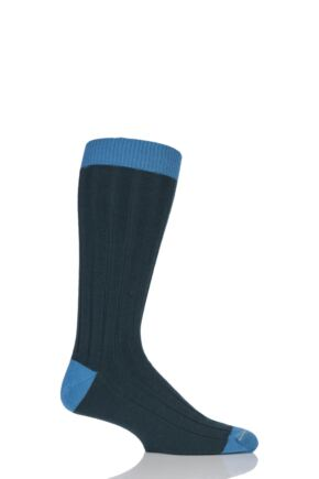 Mens 1 Pair SockShop of London 85% Cashmere Contrast Top Heel and Toe Ribbed Long Calf Socks Bottle / Teal 7-11