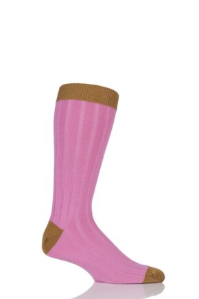 Mens 1 Pair SockShop of London 85% Cashmere Contrast Top Heel and Toe Ribbed Long Calf Socks Hot Pink / Gold 7-11
