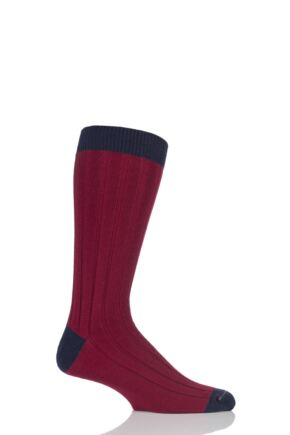 Mens 1 Pair SockShop of London 85% Cashmere Contrast Top Heel and Toe Ribbed Long Calf Socks Rum / Navy 7-11