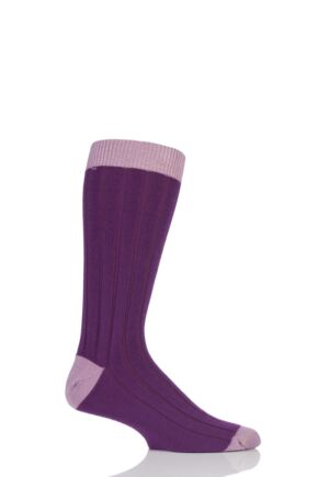 Mens 1 Pair SockShop of London 85% Cashmere Contrast Top Heel and Toe Ribbed Long Calf Socks Violet / Lilac 7-11