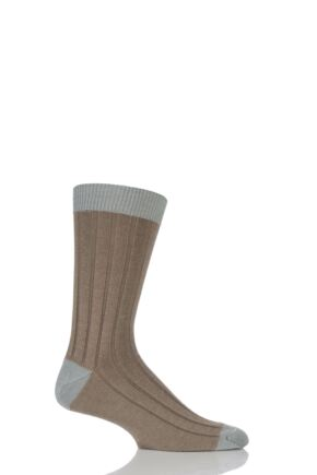 Mens 1 Pair SockShop of London 85% Cashmere Contrast Top Heel and Toe Ribbed Socks