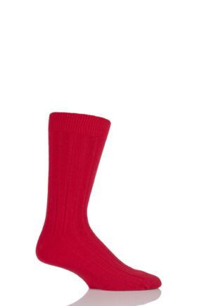 Mens 1 Pair SockShop of London 85% Cashmere Plain Ribbed Mid Weight Socks Crimson 7-10