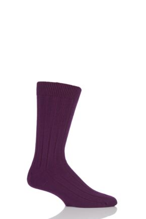Mens 1 Pair SockShop of London 85% Cashmere Plain Ribbed Mid Weight Socks Damson 7-10
