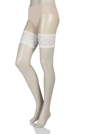 Ladies 1 Pair Charnos 10 Denier Bridal Lace Top Hold Ups