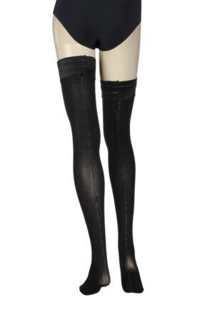 Ladies 1 Pair Charnos Lurex Backseam Sheer Hold Ups