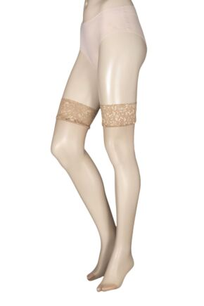 Ladies 1 Pair Charnos 10 Denier Run Resist Lace Top Stockings