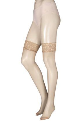 Ladies 1 Pair Charnos 10 Denier Run Resist Lace Top Stockings