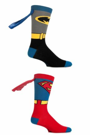 Mens 2 Pair SockShop DC Comics Superman and Batman Cape Socks
