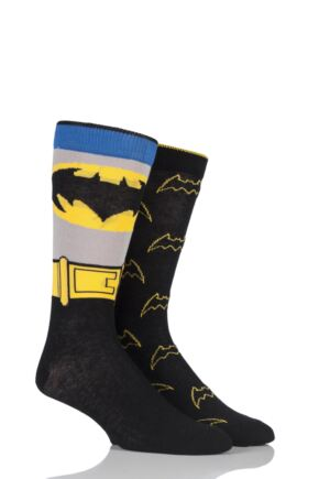 Mens 2 Pair SOCKSHOP DC Comics Mix Batman Socks