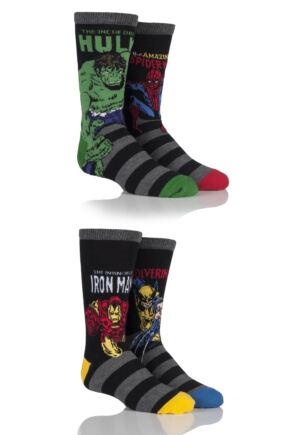 Kids 4 Pair SockShop Marvel Comics Mix Hulk, Spider-Man, Iron Man and Wolverine Socks
